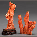 A group of two carved coral figures 20th century