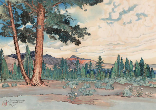 Chiura Obata (1885-1975)<BR />Morning at Mono Lake