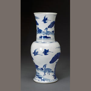 A blue and white porcelain baluster vase Kangxi period