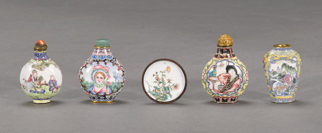 A group of four Canton enameled metal snuff bottles Qianlong marks
