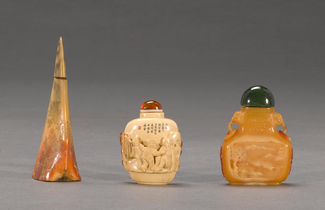 A group of three hornbill snuff bottles 1950-1960