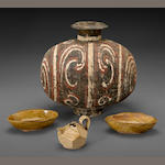 A painted pottery cocoon jar  Han dynasty