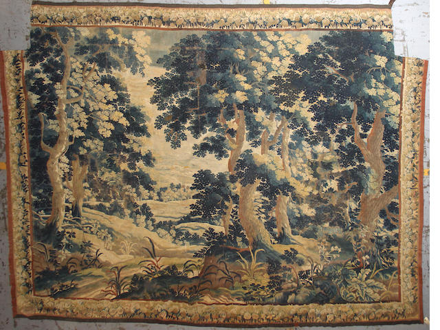 An Aubusson or Felletin verdure tapestry late 17th/ early 18th century