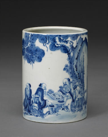A blue and white porcelain brushpot, bitong Yuncangmeiji mark, late Qing dynasty