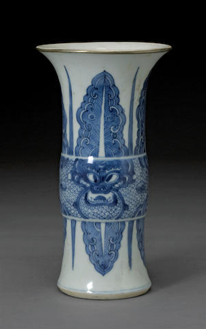 A blue and white porcelain beaker vase Kangxi period
