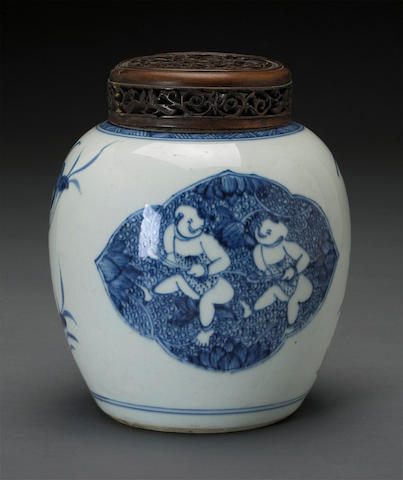 A small blue and white porcelain ovoid jar Kangxi period
