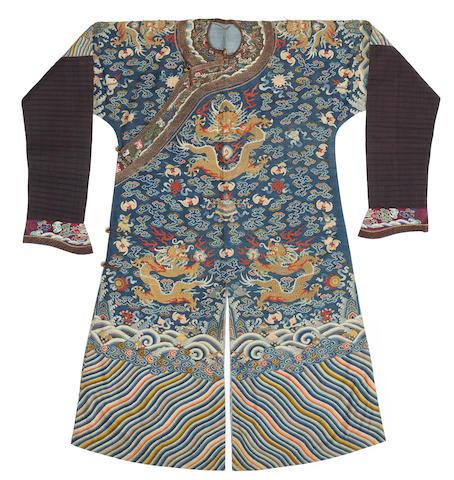 A kesi-woven blue silk dragon robe 19th century
