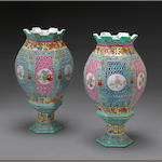 A pair of enameled porcelain lanterns Late 20th century