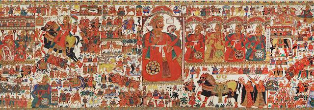 A narrative scroll of Prabuji (par) Rajasthan, possibly Shahpura, 20th century