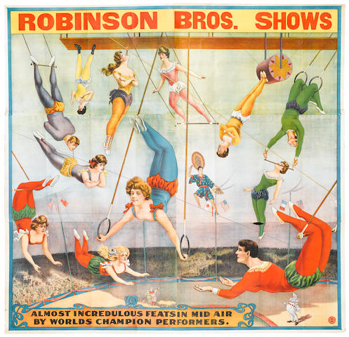 Artist Unknown (20th century) <BR />Robinson Bros. Shows Almost Incredulous Feats in Mid Air By Worlds Champion Performers