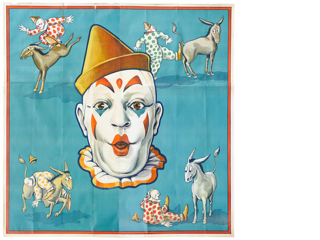 Artist Unknown (20th century) <BR />Circus Clowns and Donkey
