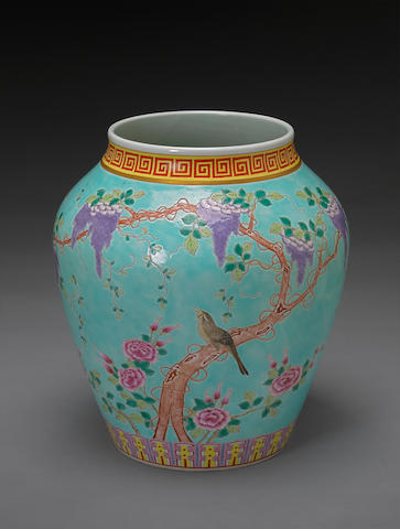 A turquoise ground porcelain jar with famille rose enamel decoration Guangxu mark