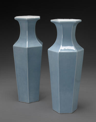 A pair of clair-de-lune glazed porcelain baluster vases Kangxi marks, 19th century