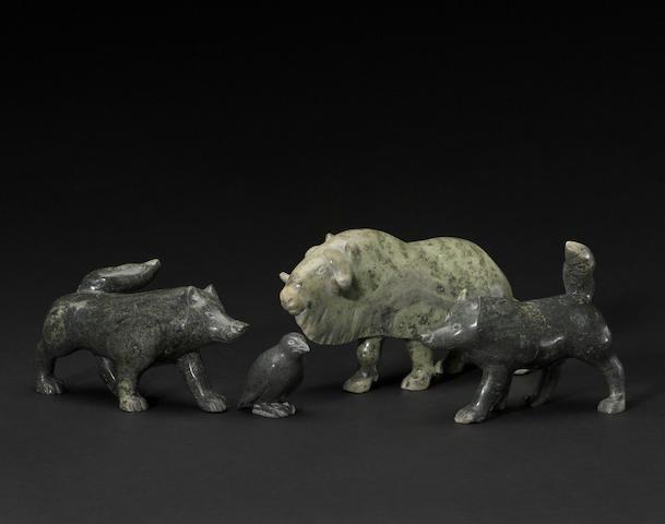 Four Henry Evaluardjuk stone sculptures