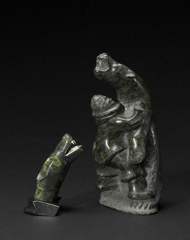 Two Nuveeya Ipellie stone sculptures
