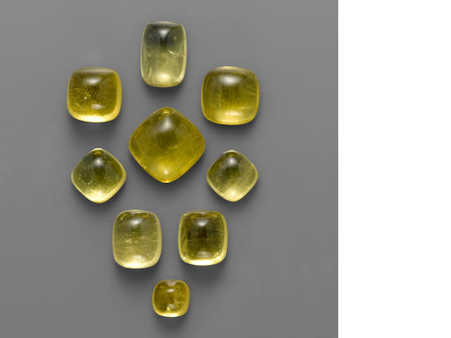 Group of Nine Golden Beryl Cabochons