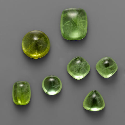 Group of Seven Peridot Cabochons