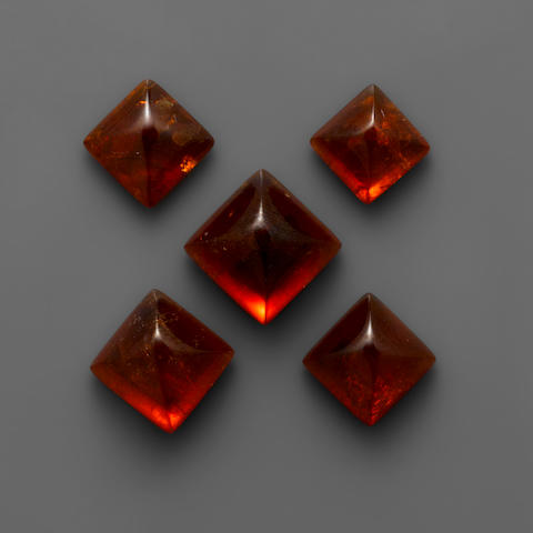 Group of Five Spessartite Garnets