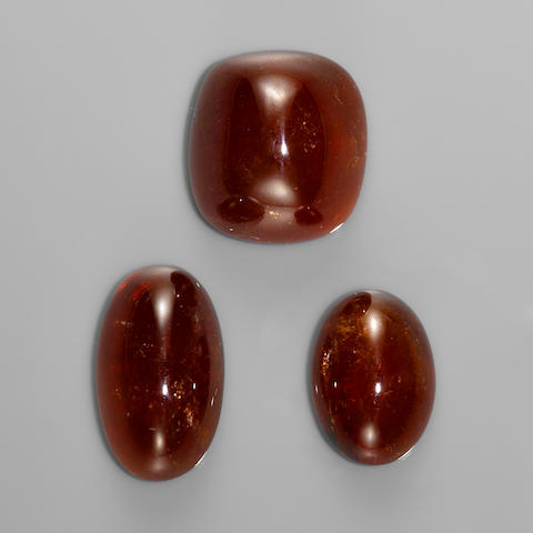Three Large Spessartite Garnets