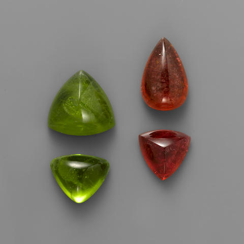 Two Peridots and Two Rubellite Tourmalines