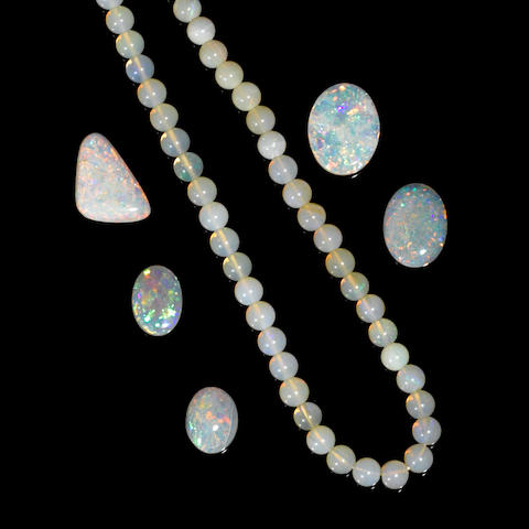 Group of Crystal Opals and a Crystal Opal Bead Necklace