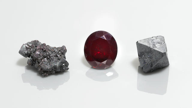 Cuprite Rough and Cut Group of Three