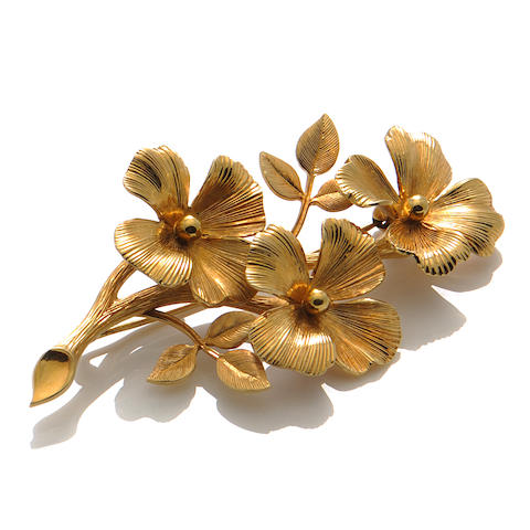 A 14k gold floral brooch, Tiffany & Co.