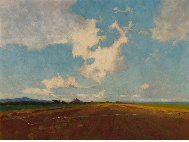 Sydney Laurence (American, 1865-1940) A mangold field 11 1/2 x 15 1/2in