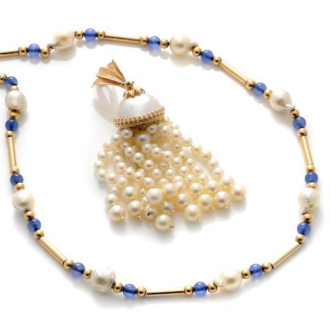 A group of cultured pearl, blue stone, mother of pearl and gold jewelry