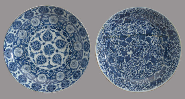 Two blue and white porcelain chargers Kangxi period