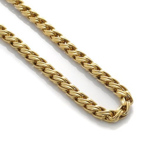 "An 18k gold ""wheat"" link necklace"