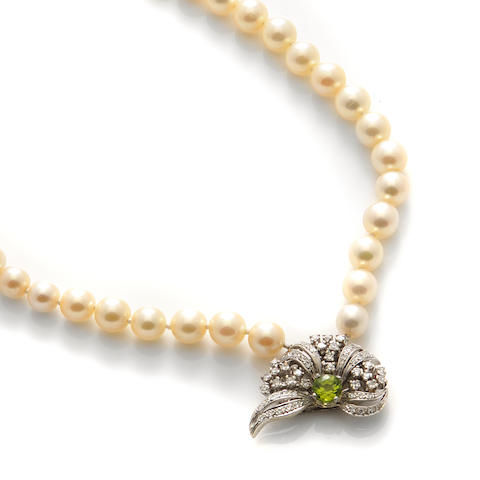 A double strand of cultured pearl, diamond, peridot and 14k white gold necklace