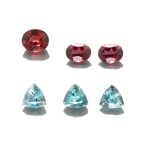 Group of Three Blue Zircons and Three Garnets