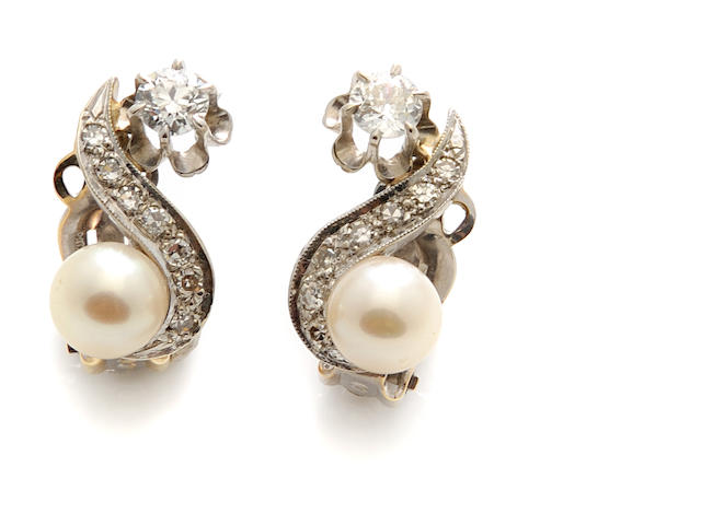 A pair of diamond, cultured pearl and 14k white gold earclips
