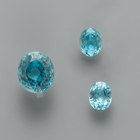 Suite of Three Blue Zircons