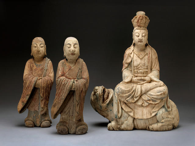 A group polychrome painted wood Buddhist figures Ming dynasty
