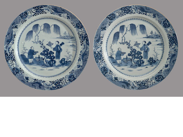 A pair of blue and white export porcelain chargers 18th century