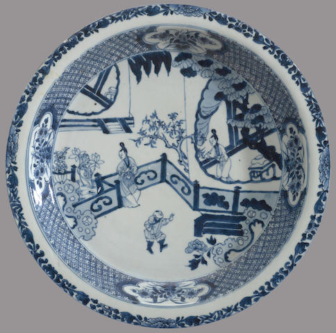 A large blue and white export porcelain deep dish 18th century