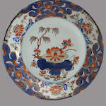 A pair of 'Chinese Imari' export porcelain chargers 18th century
