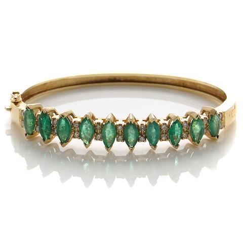 An emerald, diamond and gold bracelet