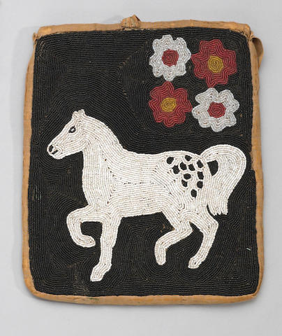 A Cayuse pictorial beaded pouch