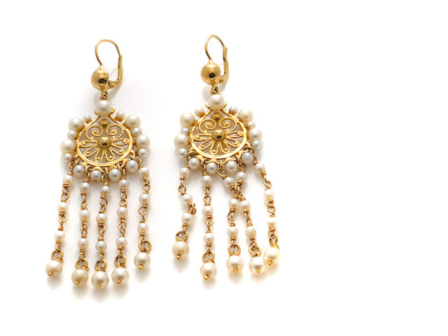 A pair of cultured pearl and 18k gold pendant earrings