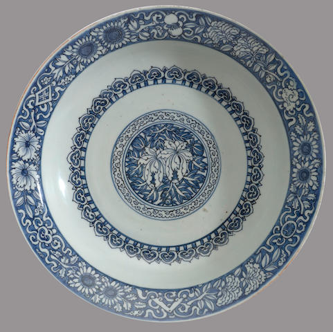 A blue and white porcelain deep bowl with floral decoration 18th century