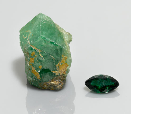 Tsavorite Rough and Cut