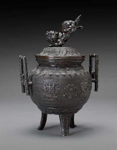 A large patinated bronze tripod censer, koro Meiji period, 19th century