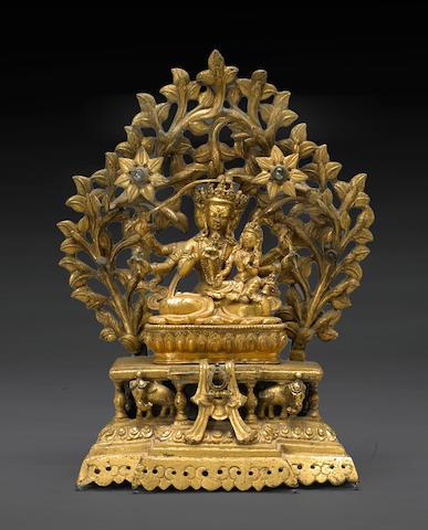 A cast bronze Vajrayana deity with consort Nepal