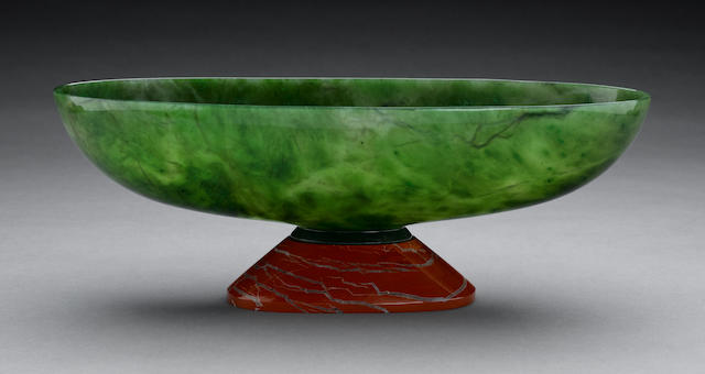 Jade Bowl with Jaspar and Obsidian bases