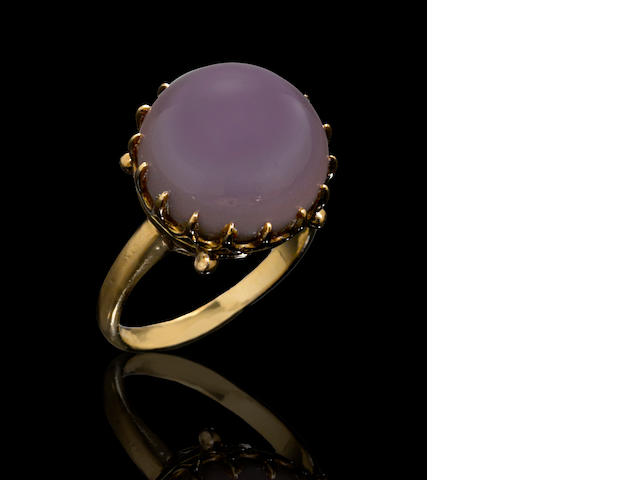 Very Large Purple Non-Nacreous Pearl in Gold Ring--A Quohog Pearl
