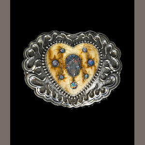 Mammoth Ivory, Black Opal, Quartz and Silver Belt Buckle