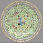A lime green ground enameled porcelain plate with famille rose decoration Qianlong mark, late Qing/Republic period